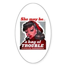No Bad Evil Women Oval Decal