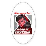 No Bad Evil Women Oval Sticker