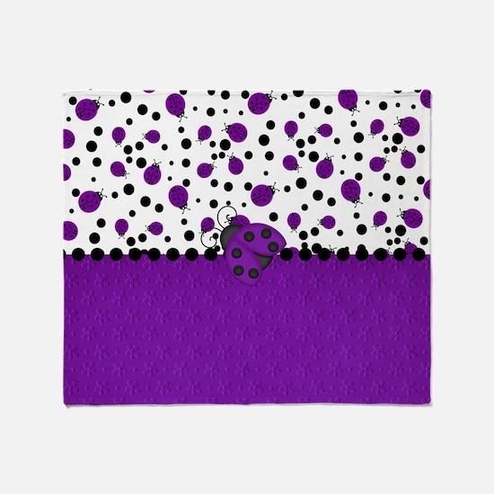 Fun Purple Ladybugs Throw Blanket