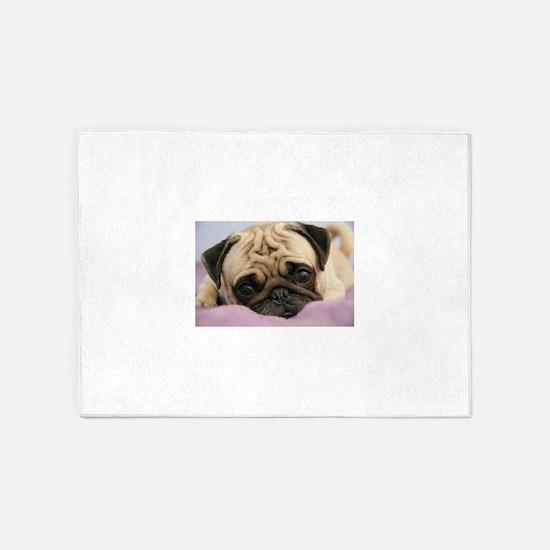 Pug Puppy 5'x7'Area Rug