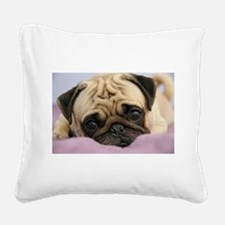 Pug Puppy Square Canvas Pillow