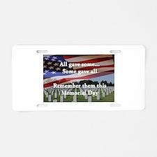 Memorial Day Aluminum License Plate