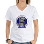Binky's Blue Portrait Women's V-Neck T-Shirt