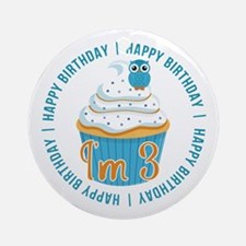 3rd Birthday Owl and Cupcake Ornament (Round)