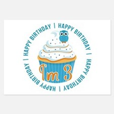 3rd Birthday Owl and Cupcake Invitations