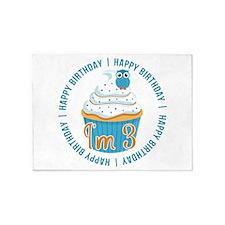 3rd Birthday Owl and Cupcake 5'x7'Area Rug