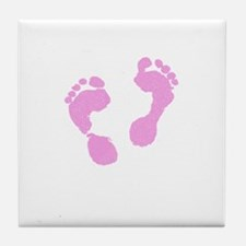 Cute Pink Baby Girl Footprints Maternity Design by