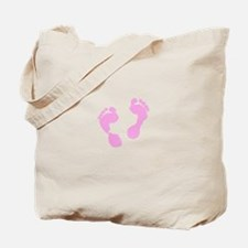 Cute Pink Baby Girl Footprints Maternity Tote Bag