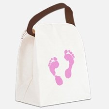 Cute Pink Baby Girl Footprints Ma Canvas Lunch Bag