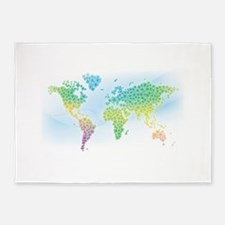 Colorful Clover Flower World Map 5'x7'Area Rug