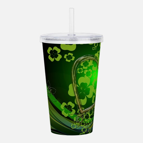 Heart And Shamrocks Acrylic Double-wall Tumbler
