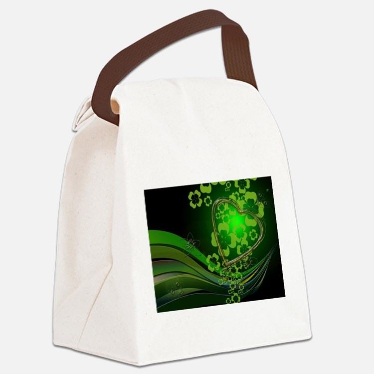 Heart And Shamrocks Canvas Lunch Bag