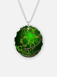 Heart And Shamrocks Necklace Circle Charm
