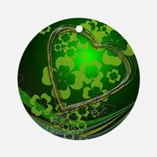 Heart And Shamrocks Ornament (Round)