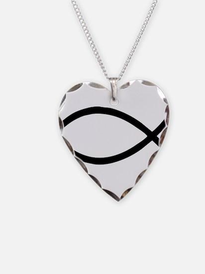 Black Christian Fish Ichthys Necklace Heart Charm