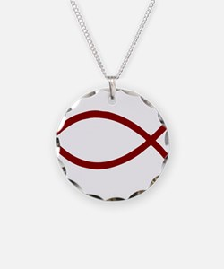 Black Christian Fish Ichthys Necklace Circle Charm