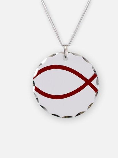 Black Christian Fish Ichthys Necklace Circle Charm