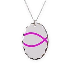 Lavender Christian Fish Ichthys Necklace Oval Char