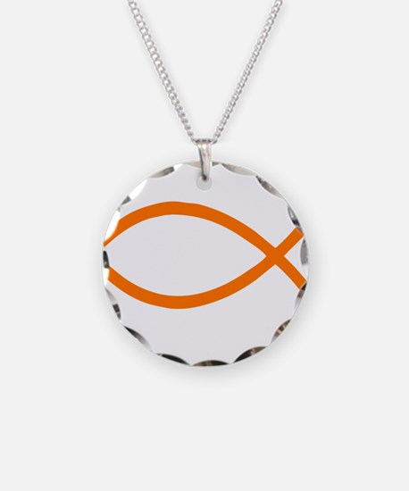 Lavender Christian Fish Ichthys Necklace Circle Ch