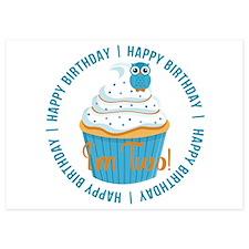 2nd Birthday Cupcake and Owl Invitations