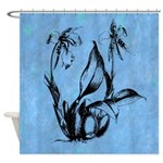 Blue And Black Floral Vintage Shower Curtain