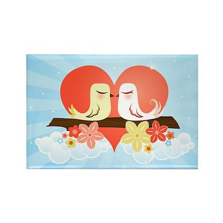 Love Birds Blue - Rectangle Magnet