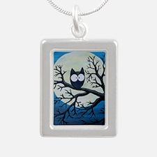 Night Owl Silver Portrait Necklace
