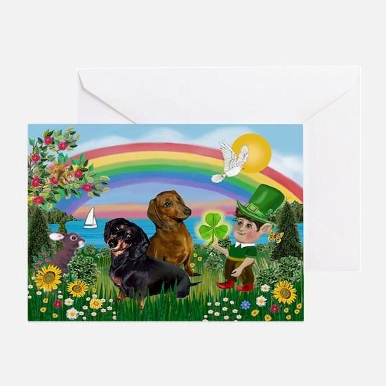 St Patricks Day Dachshunds Greeting Card