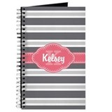 Monogram pink personalized Journals & Spiral Notebooks