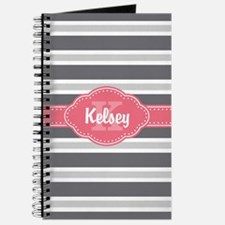 Personalized Pink Monogram Grey Stripes Journal