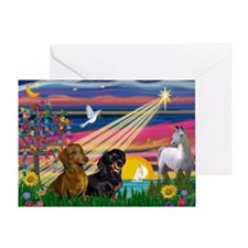 Magical Night/Two Dachshunds Greeting Card