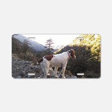 Brittany Spaniel Hiking Aluminum License Plate