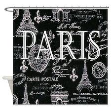 Paris Black and White Shower Curtain