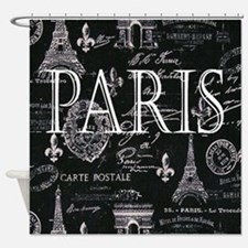 Paris Black and White Shower Curtain