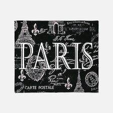 Paris Black and White Throw Blanket