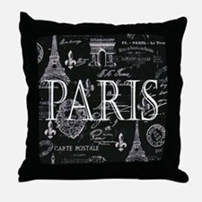 Paris Black and White Throw Pillow