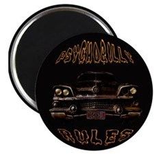 Psychobilly Rules Hot Rod Blk Magnets
