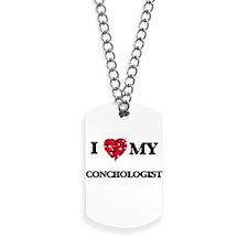 I love my Conchologist hearts design Dog Tags