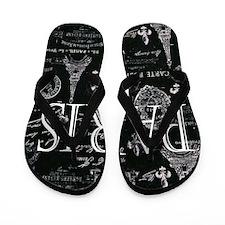 Paris Black and White Flip Flops