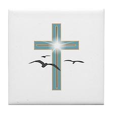Glowing Cross 1 Tile Coaster