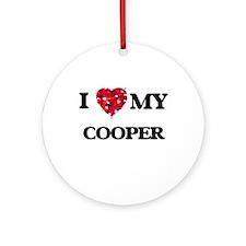 I love my Cooper hearts design Ornament (Round)