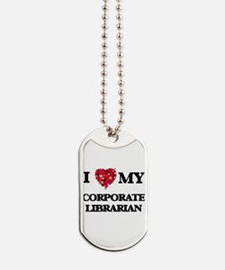 I love my Corporate Librarian hearts desi Dog Tags