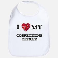 I love my Corrections Officer hearts design Bib