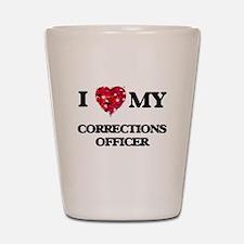 I love my Corrections Officer hearts de Shot Glass