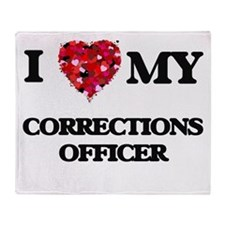 I love my Corrections Officer hearts Throw Blanket