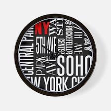NY Streets Balck and White Wall Clock