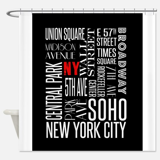 NY Streets Balck and White Shower Curtain