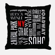 NY Streets Balck and White Throw Pillow
