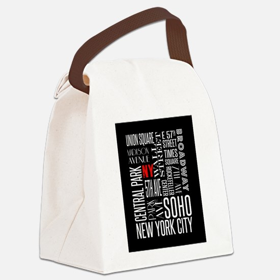 NY Streets Balck and White Canvas Lunch Bag