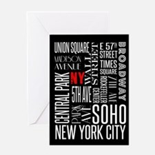 NY Streets Balck and White Greeting Cards